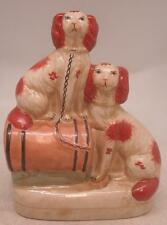 Staffordshire Pottery Figure - Two Seated Dogs on a Barrel - 23cm High