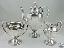 VINTAGE SILVER PLATE TEA/COFFEE/CHOCOLATE POT,SUGAR BOWL,CREAMER ART DECO