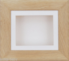6x5 Solid Oak Box Display Frame Baby Keepsakes 2D 3D Picture Craft White Mount