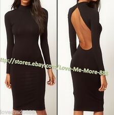 High Neck buttons back Cut Out OPen Back Midi Casual wear dress Bodycon SMALL