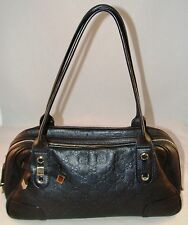 GUCCI Guccissima Black Leather Medium Princy Boston Bag Handbag Italy 161720