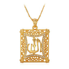Islam Necklace Big Hollow Allah Pendant 18K Gold Plated Muslim Religious Jewelry