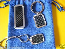 Stainless Steel Key Chain Money Clipper Necklace Carbon Fiber / 14 k Ring Holder