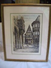 "HANS KLEMKE ORIGINAL COLORED ETCHING ""BERNKASTEL"" GERMANY SIGNED 1954 VINTAGE"
