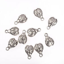ladybug beetle 3D Tibetan Silver Bead charms Pendants DIY Jewelry 15*10mm 10pcs