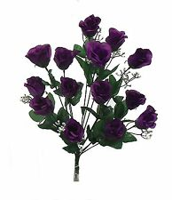 14 Long Stem Roses ~ PURPLE ~ Silk Wedding Flowers Centerpieces Bouquets Decor
