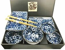 Made in Japan Flower Blossom Ceramic Sushi Dinnerware 8 Pcs Set For Two Person