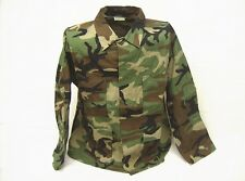 Woodland camouflage mil spec USA made fabric cotton ripstop BDU shirt top XL Reg