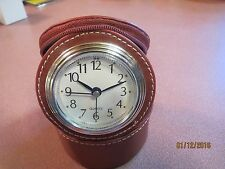 BNIB LITTLE Travel ALARM Clock IN Leather-LIKE Case THOUGHFUL GIFT