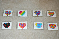 Lot of 12 colorful funky heart temporary children's tattoos party favor bags