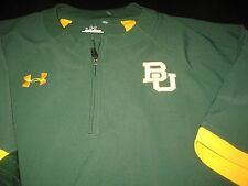 MENS UNDER ARMOUR BAYLOR BEARS SHORT SLEEVE JACKET TOP LARGE GREEN/YELLOW NWT