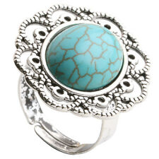 Fashion Vintage Style Turquoise Cocktail Silver Plated Adjustable Flower Ring