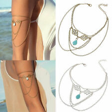 Gold Turquoise Drop Arm Harness Slave Chain Upper Armband Cuff Armlet Bracelet