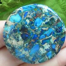 Q37120 Beautiful Blue Sea Sediment Jasper&Pyrite round pendant bead
