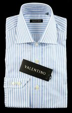 VALENTINO Lt Blue Striped Cotton Spread Collar Dress Shirt 15.5 39 M NWT $245!