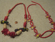 "Lot 2 BEAUTIFUL Fashion Wood Necklaces FISH&COLORFULL PARROT BEADS 23""-30"" LONG"