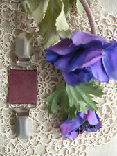 Lagenlook Leather Dress Clip~Clothes~Scarf~Burgundy Pearl /70 Colour/Magnolia~BN