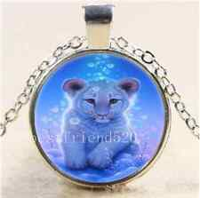 Cute White Baby Tiger Cabochon Glass Tibet Silver Chain Pendant Necklace#1347