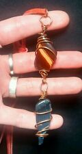 "BEAUTIFUL Tumbled & Polished Red/Blue Cat's Eye & Copper 4"" Stone Drop Necklace!"