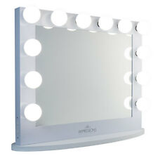 White Hollywood Iconic XL PLUS Vanity Mirror by Impressions Vanity Frosted Bulbs