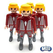 playmobil® 4 x Grundfigur: Ritter blond   Stoppelbart   Oberkörper rot   silber