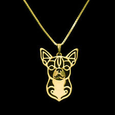 ❤️ Halskette mit Anhänger Chihuahua, Hunde Kopf, Farbe Gold, pendant necklace