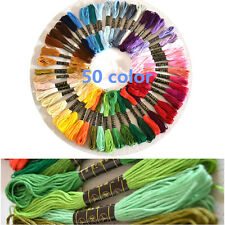 50 Colors Cotton Embroidery Thread Cross Stitch Embroider Floss Sewing Skeins