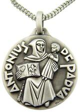 """Saint St Anthony of Padua 1"""" Medal w Antique Silver Finish 24"""" Chain Necklace"""