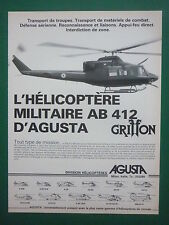 6/1983 PUB AGUSTA HELICOPTERE MILITAIRE AGUSTA BELL AB 412 GRIFFON FRENCH AD