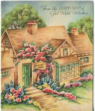 VINTAGE QUAINT CHARMING FLORIST HOUSE SUNNY SHOP GARDEN CHEER CARD ART PRINT