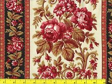 Red Pink & White Flowers Stripes Floral Quilting Fabric by Yard  #979