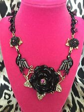 Betsey Johnson Vampire Slayer Black Rose Bird Crow Raven Spider Necklace BITE ME