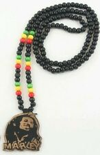RASTA Wooden Bob Marley  Necklace  Reggae one love color jamaica chain