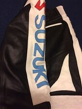 ** NEW MENS SUZUKI LEATHER BIKERS TROUSERS BLACK WHITE RED BLUE YELLOW UK 38 **