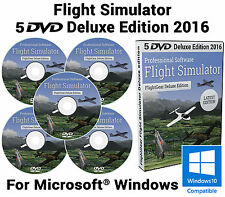 Flight Simulator 2016.2.3 DELUXE Edition X Flight Sim Windows 10 8 7 XP PC 5xDVD