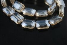 5pcs 26X18mm Faceted Rectange Crystal Glass Majhong Loose Beads Silver Champagne
