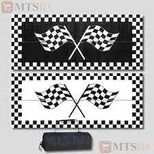 MMI Reversible Patio Mat 8x20 ft. - B&W Racing Flags Checkered - Awning RV - NEW
