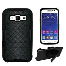 Samsung Galaxy Core Prime G360 Carbon Fiber Shell Case with Kickstand & Holster