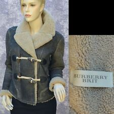 BURBERRY New sz 38 - 4 Auth Shearling Fur Designer Winter Womens Coat Jacket