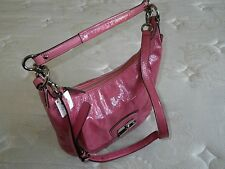 NWT COACH KRISTIN ROSE PINK CRINKLED PATENT LEATHER MESSENGER HOBO PURSE BAG