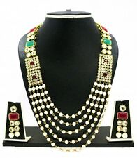Indian Bollywood Wedding Traditional Kundan Pearl CZ Bridal Gold P Necklace Set
