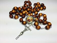 St Camillus de Lellis brown relic rosary pt of sick,hospitals,nurses,physicians