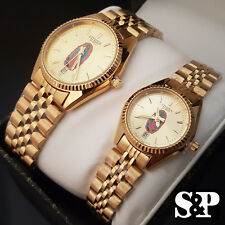 Citizen 24K Gold PT Virgin Mary Guadalupe Metal Band Dress Couple Watch Set