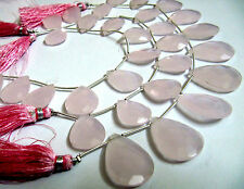 """Pink Chalcedony Briolette Pear Shape Beads Hydro Quartz- 8""""Strand FREE SHIPPING"""