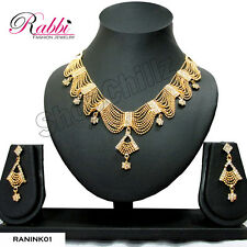 RABBI FASHION DESIGNER GOLD PLATED BRIDAL NECKLACE SET WITH EARRINGS