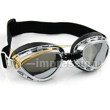 Chrome Frame UV Strap Steampunk War Game Party Goggle Sunglasses For Suzuki