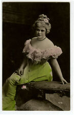 c 1907 Pretty Young Lady BUXOM BEAUTY tinted photo postcard