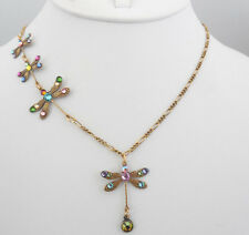 NEW ANNE KOPLIK DANCING DRAGONFLIES NECKLACE PASTEL SWAROVSKI CRYSTALS