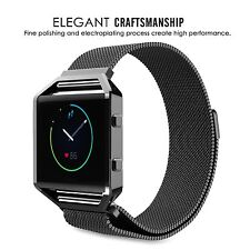 Milanese Magnetic Stainless Steel Wrist watch Band Strap+Frame For Fitbit Blaze