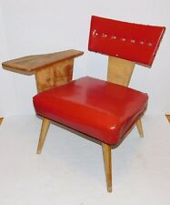 Vtg 1950's Red Vinyl Retro Telephone Writing Table Chair Mid Century Modern